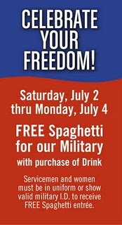 Military Freebie Alert: 07/02/11-07/04/11 Fazoli's for Service Members