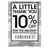 Military Discount Alert* Forever 21 07/01/11-07/04/11