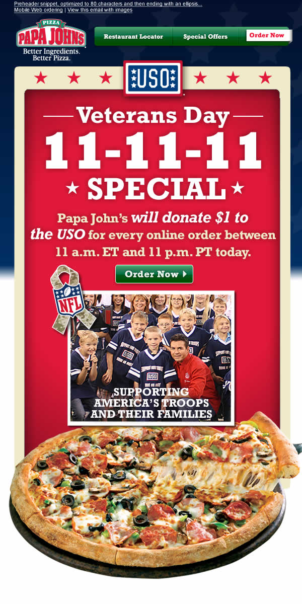 *CLOSED*Help The USO By Buying Pizza From Papa John's Plus Papa John's Giftcard Giveaway …10 Winners!!!!!!!!