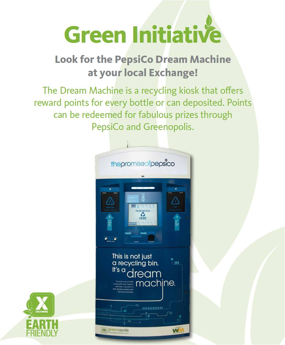 Earn Free Perks By Recycling with the Dream Kiosks In Your Local PX (Exchange)
