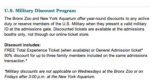 New York Aquarium and Bronx Zoo Military Discounts