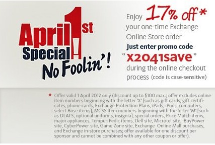 "AAFES Online ""No Foolin"" Discount Today Only!"