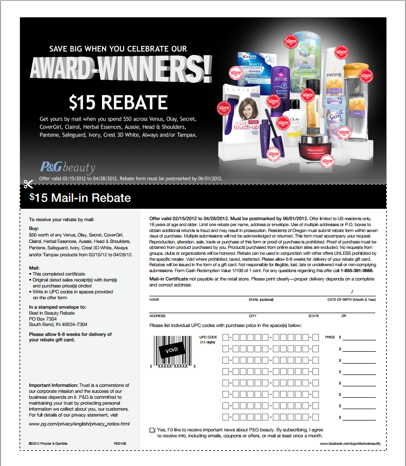 P&G Beauty $15 Rebate Form - Army Wife 101Army Wife 101