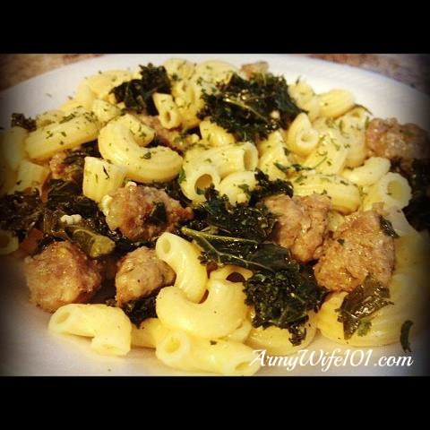 Chow Hall: Quick $9 Easy Sauteed Kale and Italian Sausage Pasta Skillet