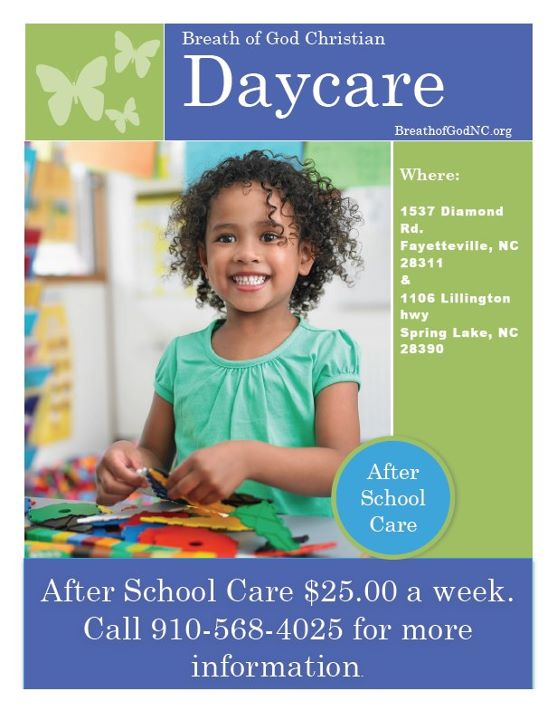 $25 A Week After School Day Care For People in The Fayetteville/Fort Bragg Area