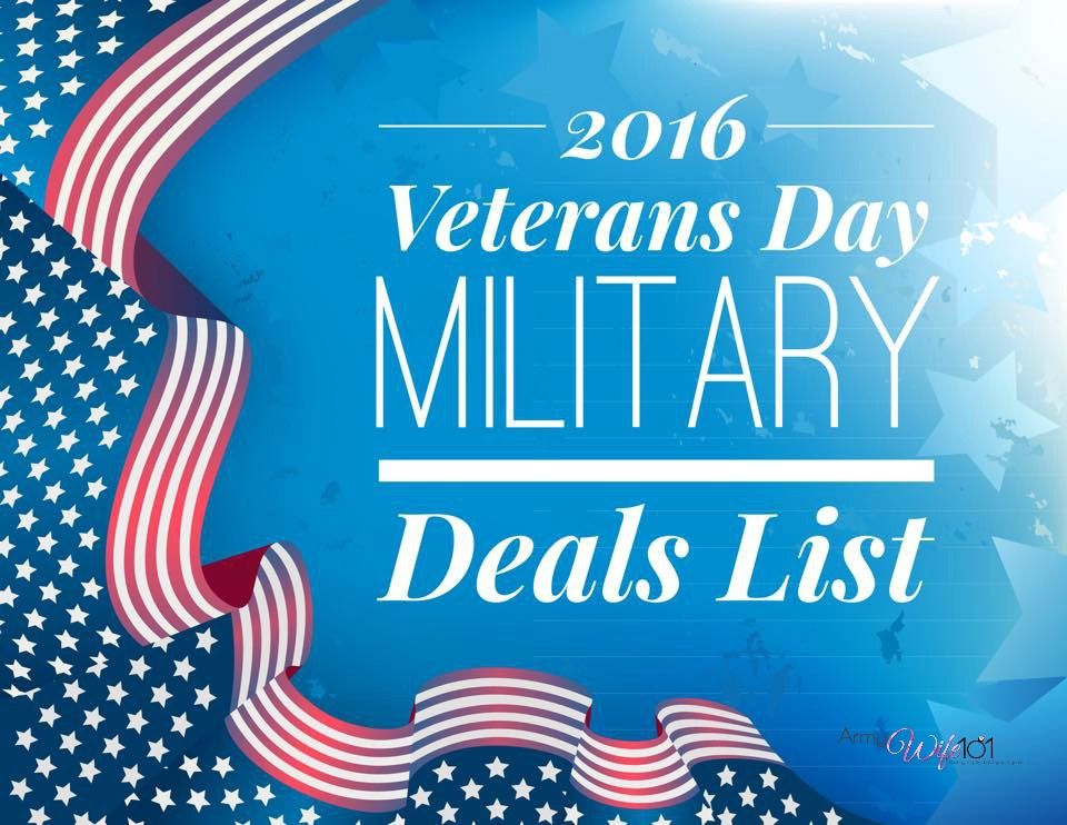 Army Wife 101's 2015 Veterans Day Military Discount List