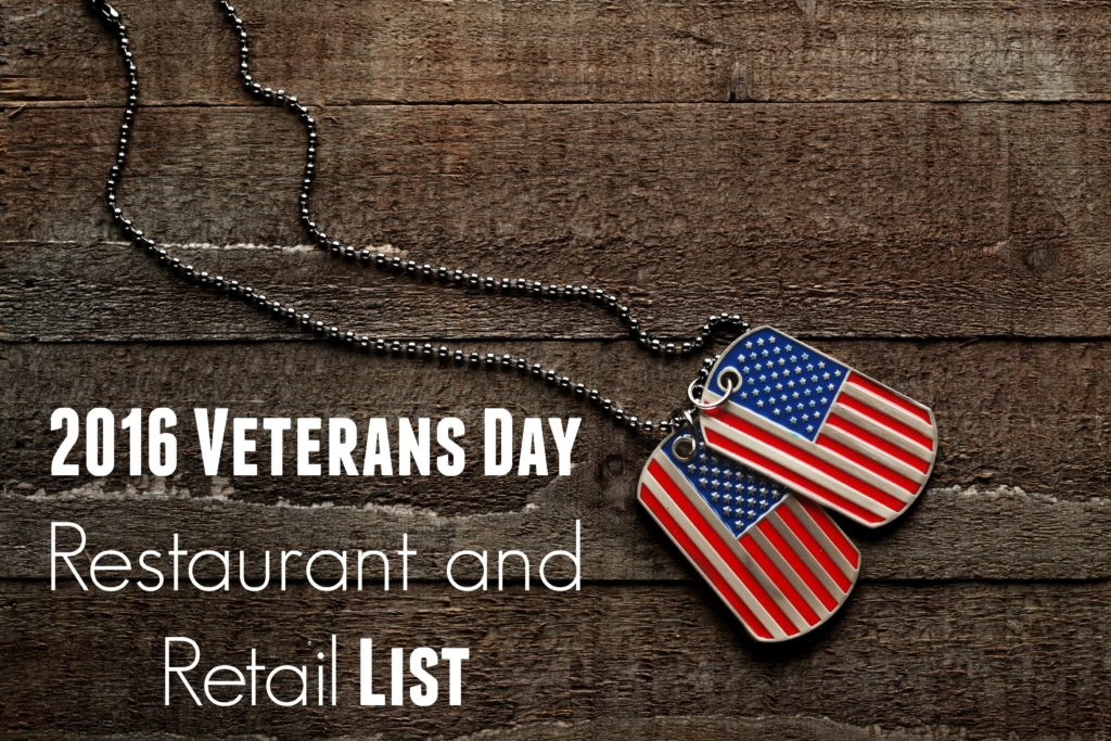 2016 Veterans Day Military Restaurants/Entertainment Freebies and Deals List