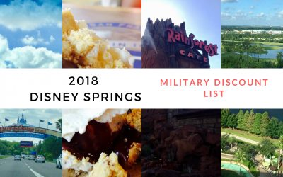 2018 Disney Springs (Downtown Disney) Military Discount List