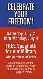 Military Freebie Alert: 07/02/11-07/04/11 Fazoli's for Service Members