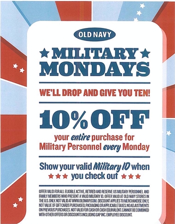 Every Monday is Now Military Mondays At Old Navy…Just In Time For The Summer