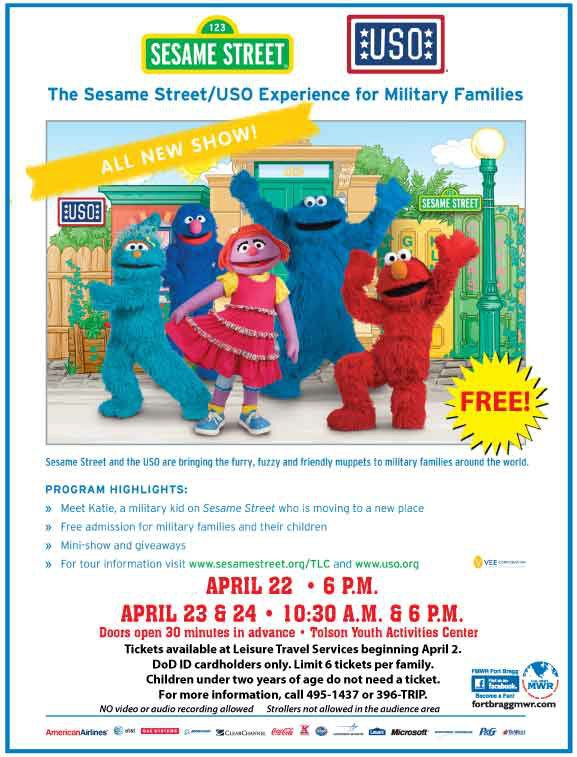 NC Family Happenings: Sesame Street/USO Experience Coming To Fort Bragg This April