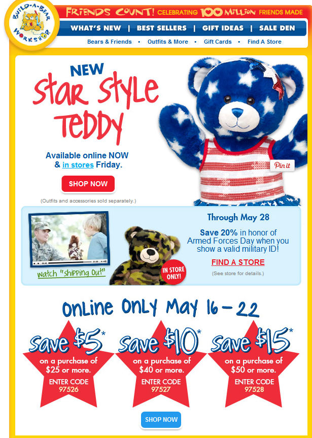 20% Military Discount at Build A Bear Until May 28th!