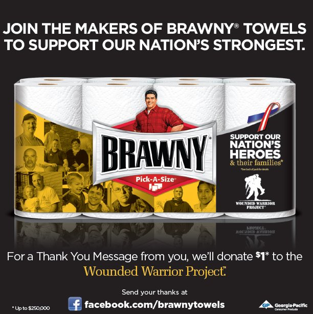 Brawny Paper Towels Supports Our Wounded Warriors and You Can Too Free!
