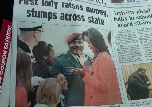 My kiddos and husband meeting the first lady in March of 2012