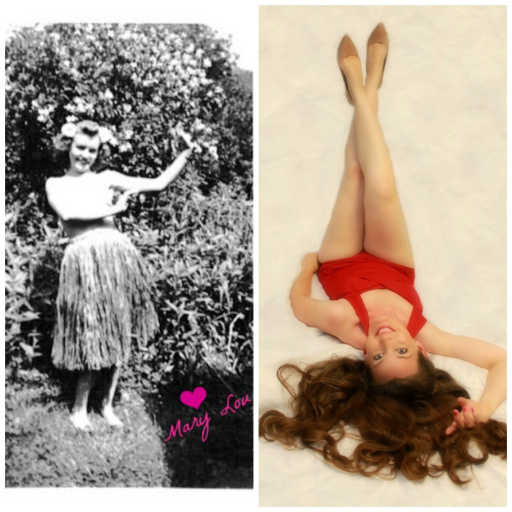 Left: My grandmother posing in the 1940's Right: my updated vintage pose.